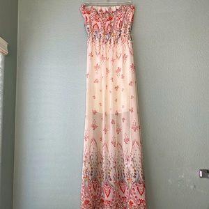 Floral Strapless Maxi Dress!